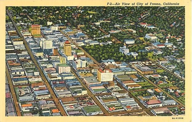 Air View of Fresno, California, CA Linen