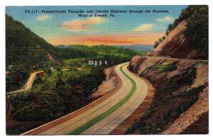 RARE 1930-1945 PA Turnpike & Lincoln Highway Through the Narrows West of Everett