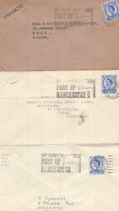 Ship Through The Port Of Manchester 3x Slogan Rare Envelopes