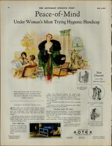 1927 Kotex Sanitation Napkins Protects Deodorizes Vintage Print Ad 3899