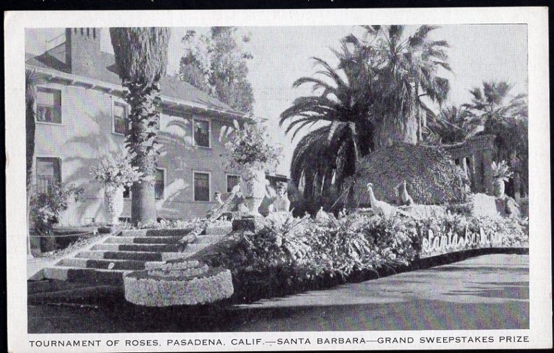 California PASADENA Santa Barbara 1935 Tournament of Roses - White Border