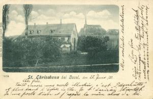 switzerland, St. CHRISCHONA bei Basel, Teilansicht mit Kirche (1900) Stamp