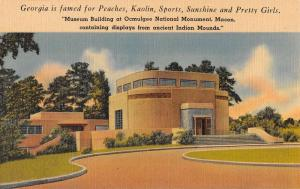 Macon Georgia Ocmulgee Monument Museum Bldg Antique Postcard K61121