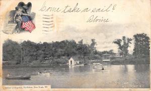Allenhurst New Jersey Deal Lake Boating Antique Postcard K90099