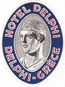 GREECE DELPHI HOTEL DELPHI VINTAGE LUGGAGE LABEL