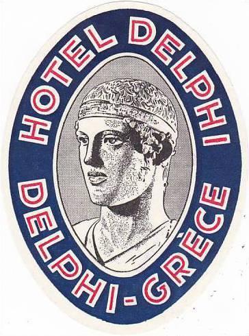 GREECE DELPHI HOTEL DELPHI VINTAGE LUGGAGE LABEL