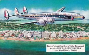 Eastern Air Lines Turbo Compound Powered Super-C Constellation Over Miami Bea...
