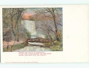Unused Pre-1907 WATERFALL AND BRIDGE OF MINNEHAHA RIVER Minneapolis MN Q1528