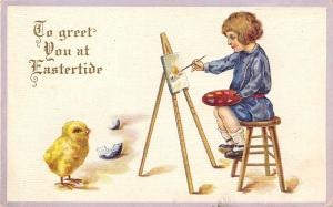 Easter Chick Poses for Portrait~Boy With Artist Palette~Easel~Emboss~Stecher 77C