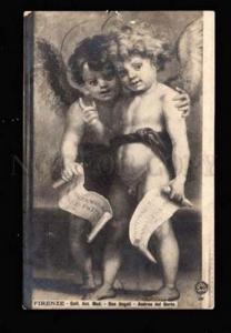 011955 Two NUDE Boys Winged ANGELS vintage PC