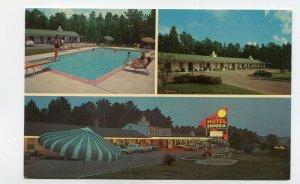 Vintage Postcard MOTEL EMPORIA Emporia VA neon swimming pool tri-view
