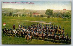 Fort Riley Kansas~Mounted Troup Cavalry~Colors~Soldiers on Horseback~c1910