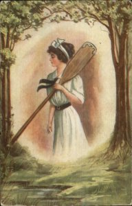 Beautiful Woman w/ Boat Oar Paddle c1910 Postcard