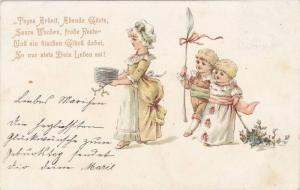 Woman holding dishes, children walking behind holding huge spoon, Poem, 00-10s