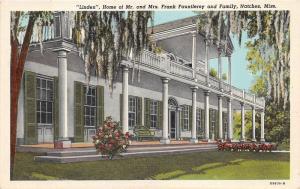 Natchez Mississippi~Linden Home (Frank Fauntleroy & Family)~Info Bk~'40 Postcard