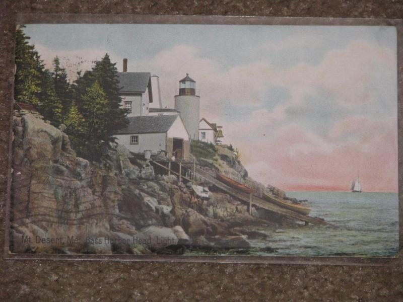 Bass Harbor Head Light, Mt. Desert, Me., used vintage card