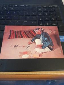 Vtg Postcard: Navajo Sand Painter