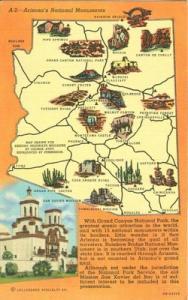 Arizona's National Monuments unused linen Postcard