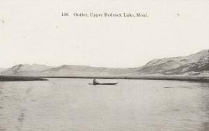 UPPER REDROCK LAKE, Montana, 1900-10s; Outlet, Man in Rowboat