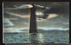 USA Postcard Minot Lighthouse at Night Boston Harbor Mass.