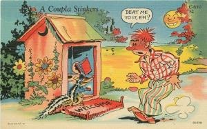 Comic Humor 1940s Ray Walters Outhouse Skunk Stinkers Postcard Teich 2127