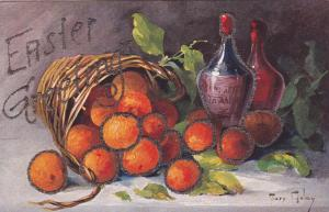 AS: Still Life, Basket of oranges & wine bottles by Golay, EASTER, 10-20s