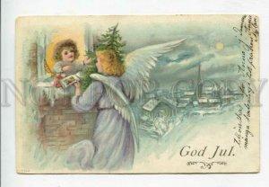428890 CHRISTMAS X-mas ANGEL w/ Toys Vintage LITHO 1905 year