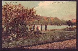 P1481 old unused postcard flowers trees people pond elder park govan scotland