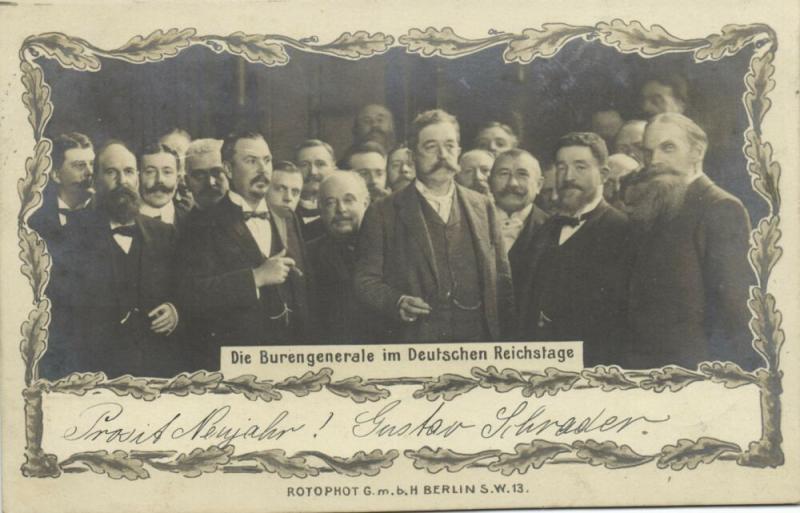 BOER WAR, Boer Generals in German Reichstag (1903) RPPC Stamp