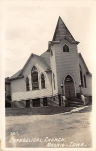Madrid Iowa~Evangelical Church~Stained Glass~Unpaved Street~1940s Real Photo PC