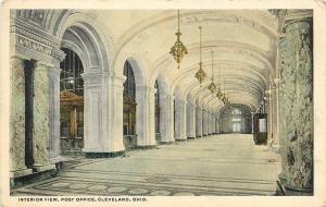 Cleveland Ohio~Post Office Interior View~Marble Collonade~Clerk Windows~1920s