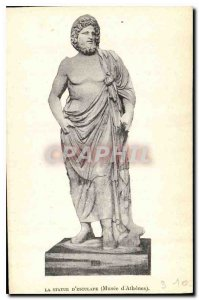 Old Postcard The statue of Aesculapius Museum of Athens