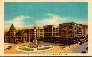 New York Buffalo Lafayette Square and Main Street 1945 Dexter Press