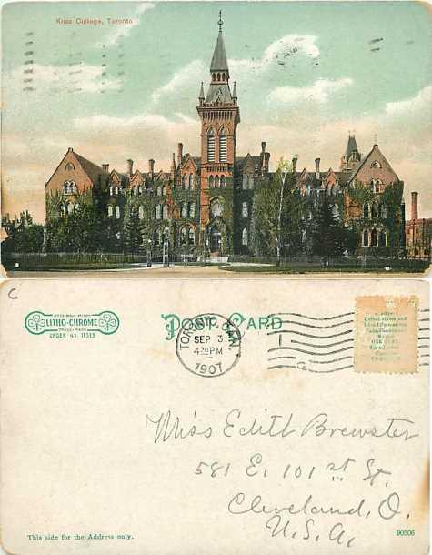 Knox College Toronto, Ontario, Canada, 1907 Divided Back