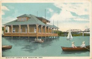 Muscatine Iowa Launch Club~Sailboat & Rowboats~Bridge Beyond House~1915 Postcard