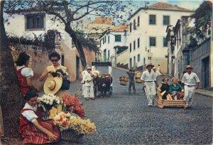 Portugal Postcard Madeira native people flower sellers running cart bull cart