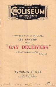 Gay Deceivers Program Charlotte Greenwood Claire Luce Coliseum Theatre Programme