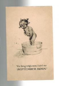 1913 Akron OH Postcard Cover Black Americana Little Girl in Bath Tub White Man