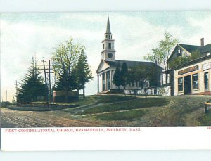 Pre-1907 CHURCH SCENE Millbury Massachusetts MA AD2215