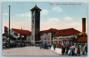 Postcard OR Portland Union Depot Railroad Station 1915 View I22