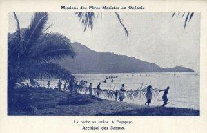 PC CPA SAMOA, PACIFIC, PÉCHE AU LAULOA, Á PAGOPAGO, Vintage Postcard (b19438)