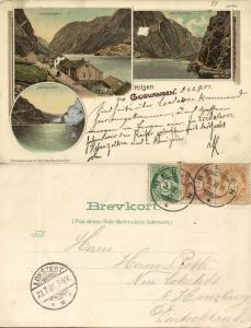 norway norge, GUDVANGEN, Nærøyfjorden, Multiview (1901) Postcard