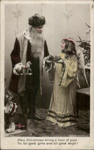 Christmas - Skinny Santa Claus Girl in Angel Costume c1910 Real Photo Postcard
