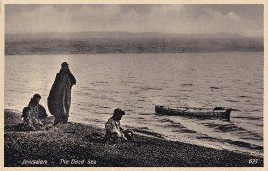 Jerusalem Boat Deserted Floating On The Dead Sea Old Postcard