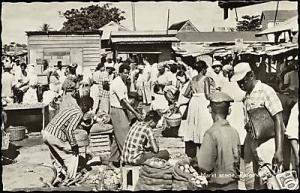 suriname, Dutch Guyana PARAMARIBO Market Scene 60s RPPC