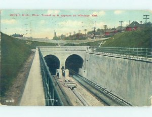 Divided-back TRAIN TUNNEL TO DETROIT ON CANADIAN SIDE Windsor Ontario ON AD8156