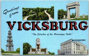 VICKSBURG Mississippi Big Letter Postcard National Cemetery Views KROPP Linen
