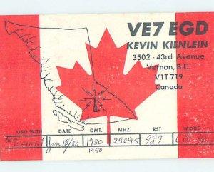 Pre-1980 RADIO CARD - CB HAM OR QSL Vernon British Columbia BC AH2339