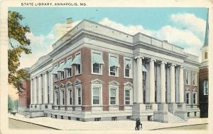 Annapolis Maryland~Boys Sits On Bike Handlebars~Library Pinstriped Awnings~1925