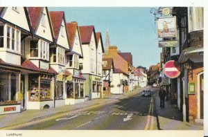Hampshire Postcard - Lyndhurst - Showing The Stag Hotel and Shops - Ref 13510A
